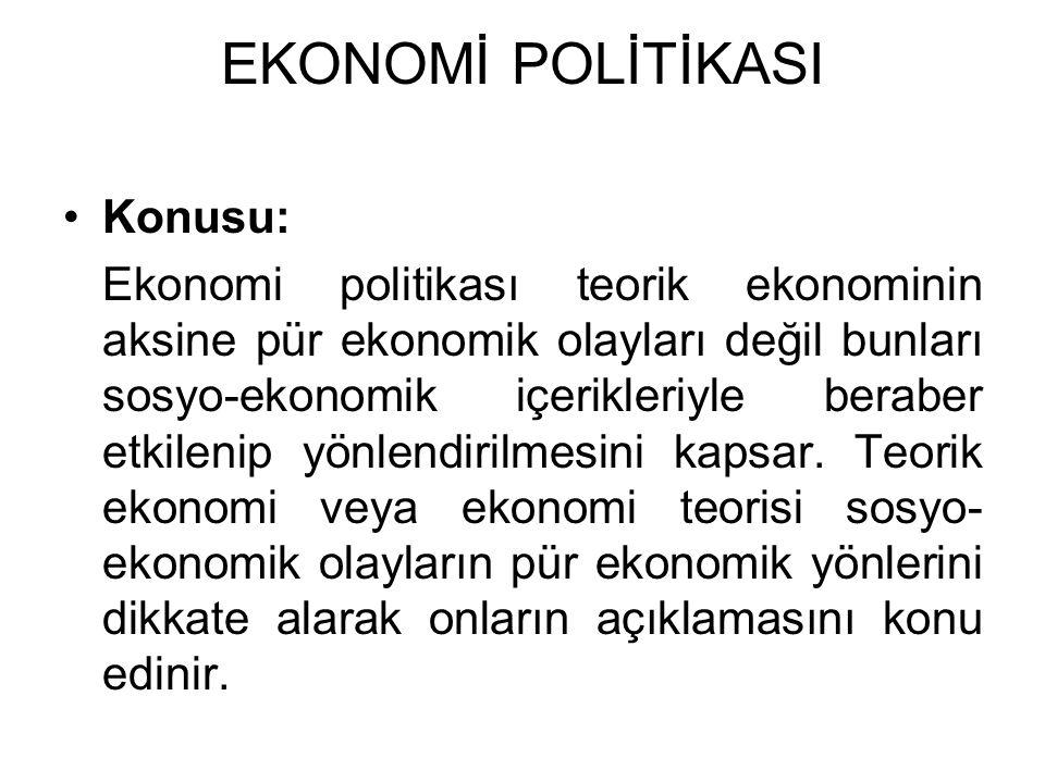 EKONOMİ POLİTİKASI Konusu: