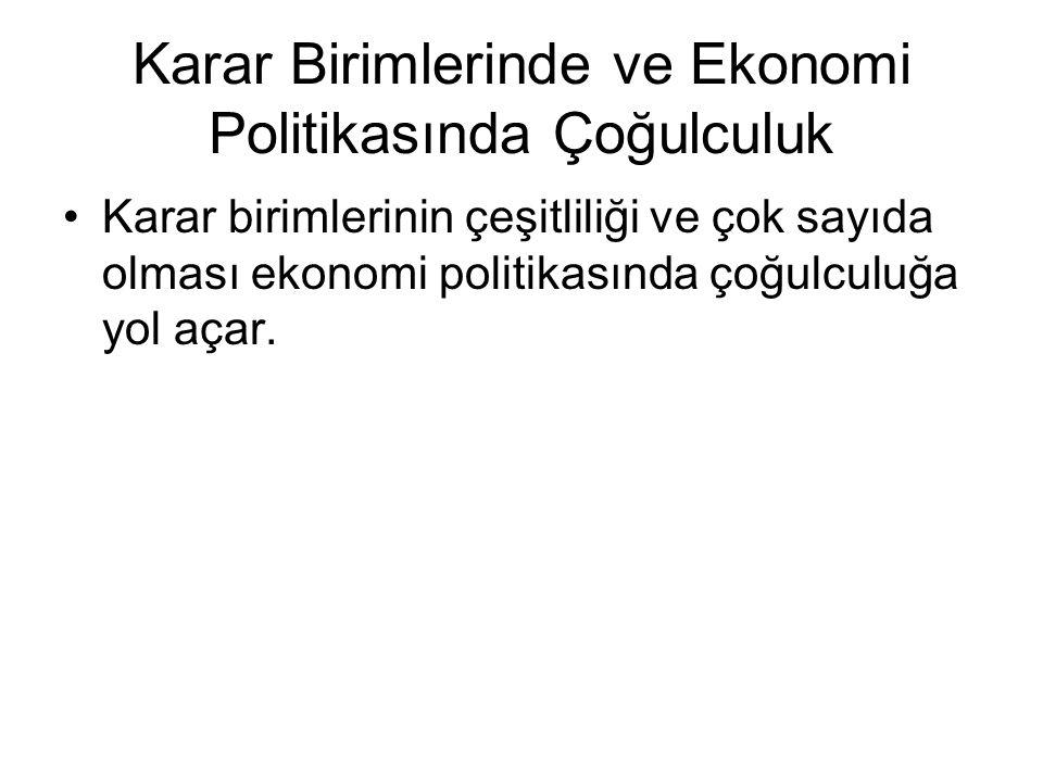 Karar Birimlerinde ve Ekonomi Politikasında Çoğulculuk