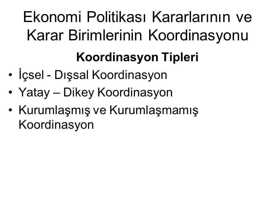 Ekonomi Politikası Kararlarının ve Karar Birimlerinin Koordinasyonu