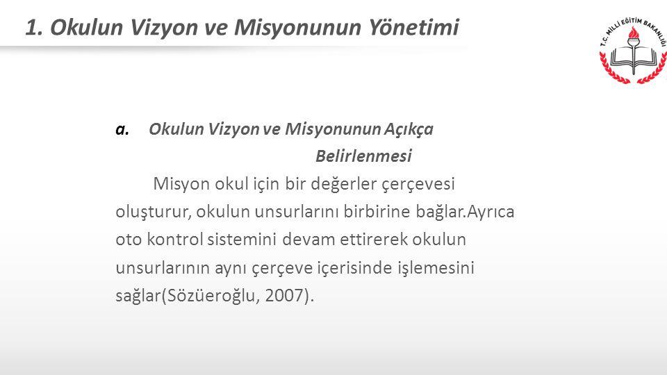 1. Okulun Vizyon ve Misyonunun Yönetimi