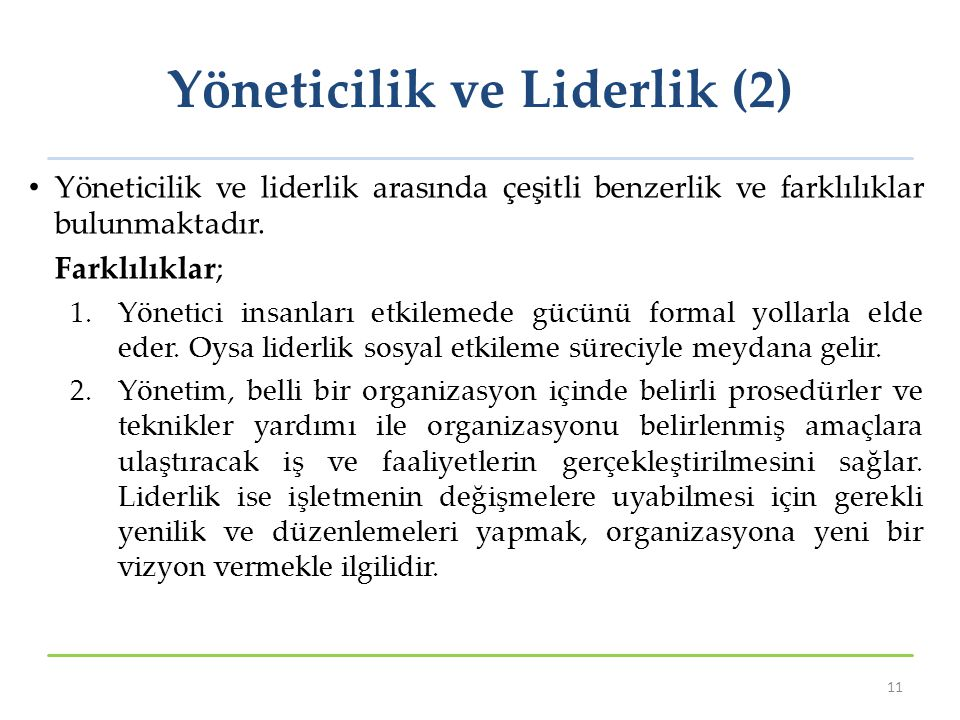 Yöneticilik ve Liderlik (2)