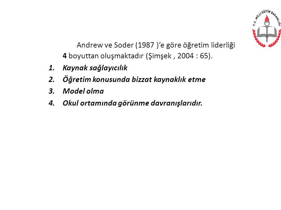 Andrew ve Soder (1987 )'e göre öğretim liderliği 4 boyuttan oluşmaktadır (Şimşek , 2004 : 65).