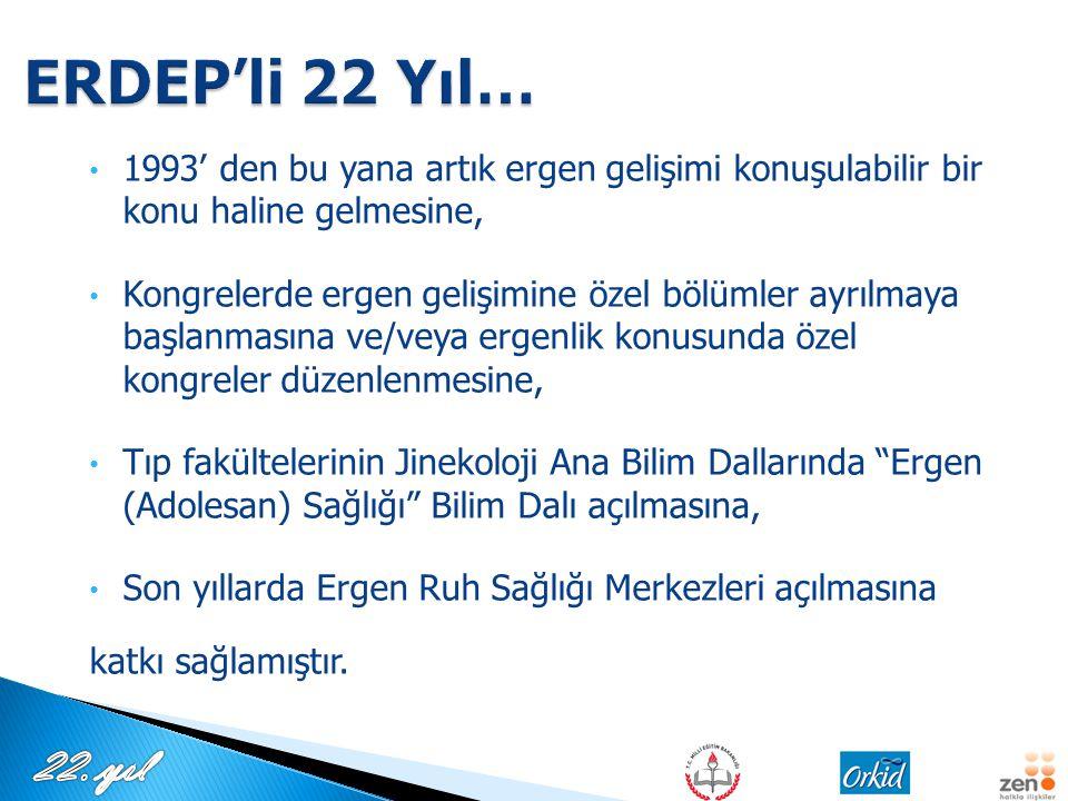 ERDEP'li 22 Yıl… 1993' den bu yana artık ergen gelişimi konuşulabilir bir konu haline gelmesine,