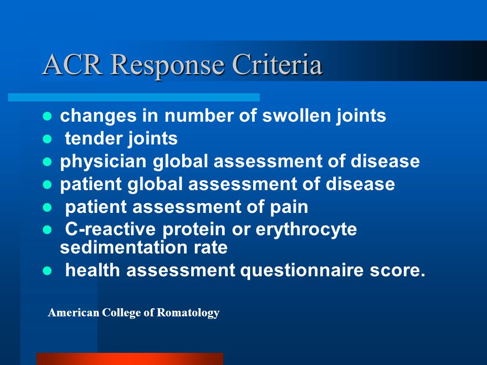 ACR Response Criteria changes in number of swollen joints