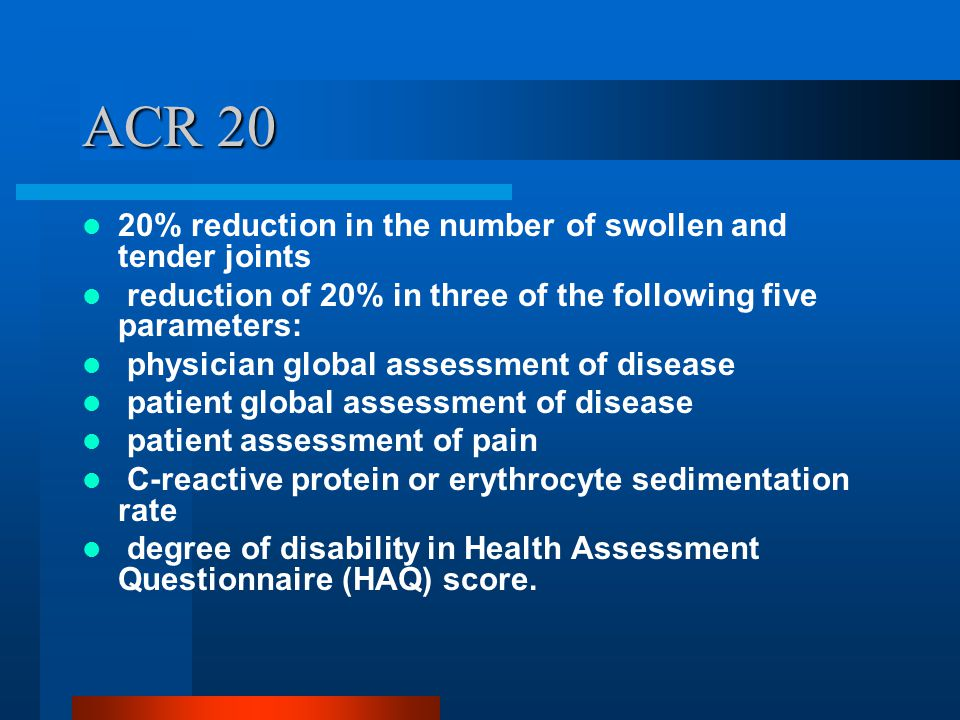 ACR 20 20% reduction in the number of swollen and tender joints