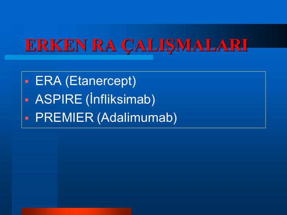 ERKEN RA ÇALIŞMALARI ERA (Etanercept) ASPIRE (İnfliksimab)