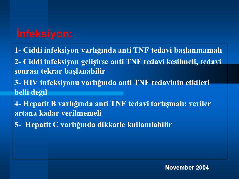 İnfeksiyon: 1- Ciddi infeksiyon varlığında anti TNF tedavi başlanmamalı.