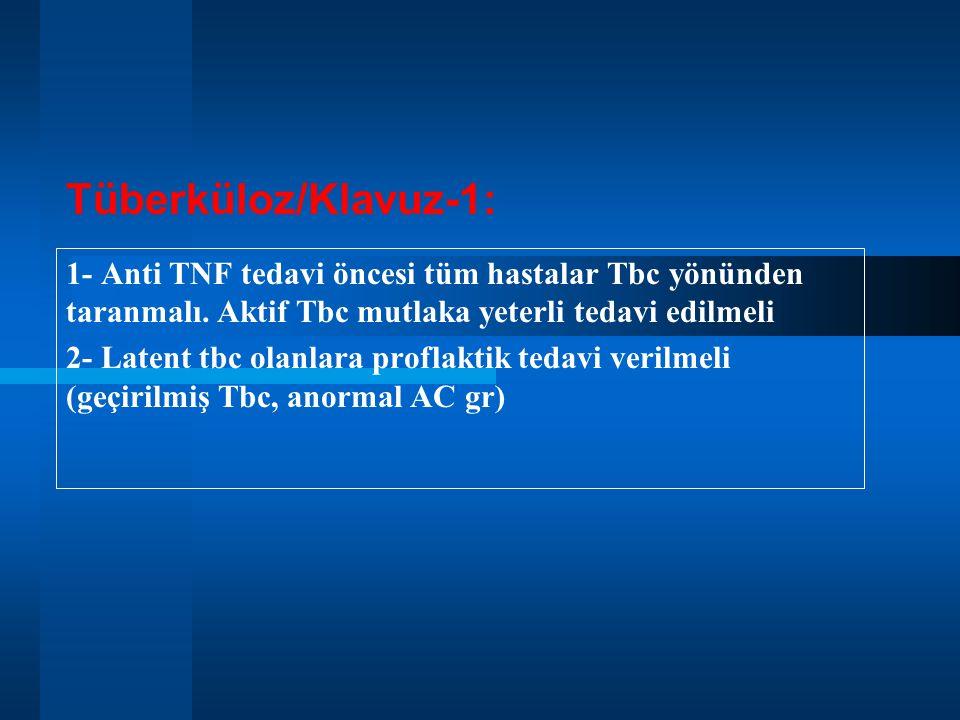 Tüberküloz/Klavuz-1: 1- Anti TNF tedavi öncesi tüm hastalar Tbc yönünden taranmalı. Aktif Tbc mutlaka yeterli tedavi edilmeli.