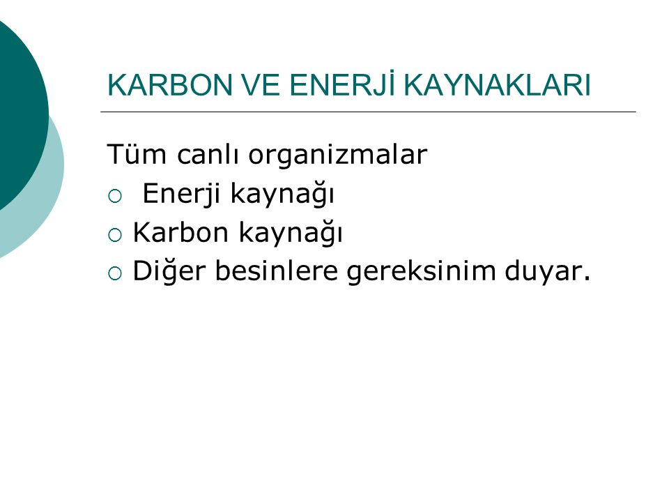 KARBON VE ENERJİ KAYNAKLARI