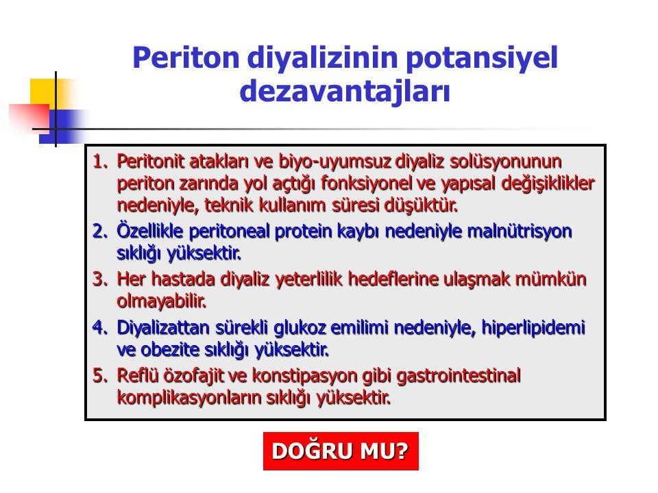 Periton diyalizinin potansiyel dezavantajları