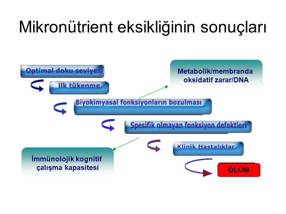 Mikronütrient eksikliğinin sonuçları