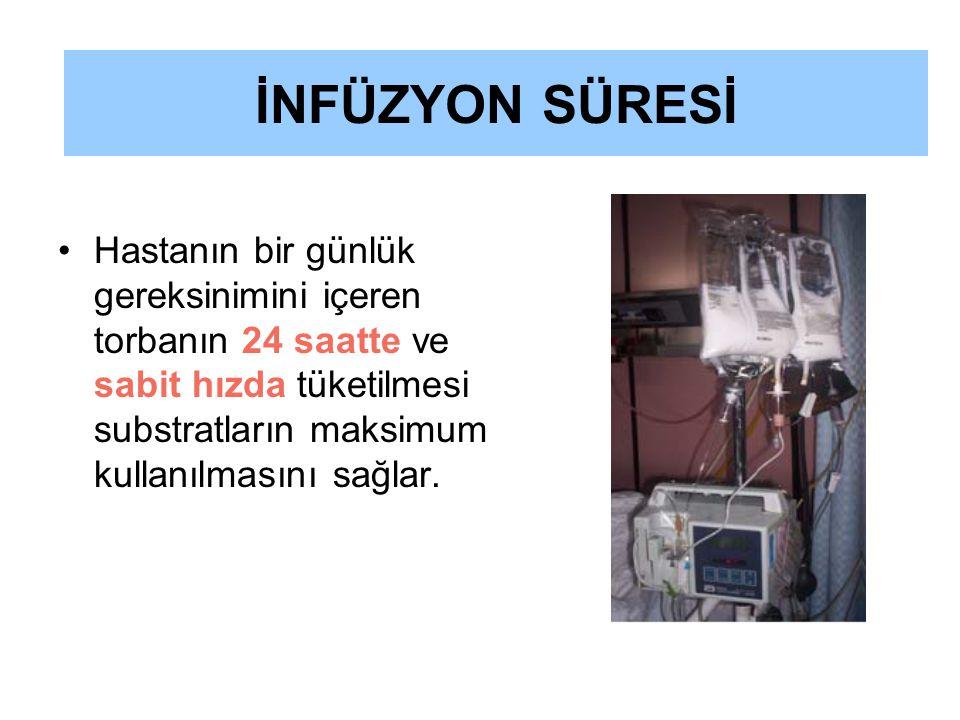 İNFÜZYON SÜRESİ Hastanın bir günlük gereksinimini içeren torbanın 24 saatte ve sabit hızda tüketilmesi substratların maksimum kullanılmasını sağlar.