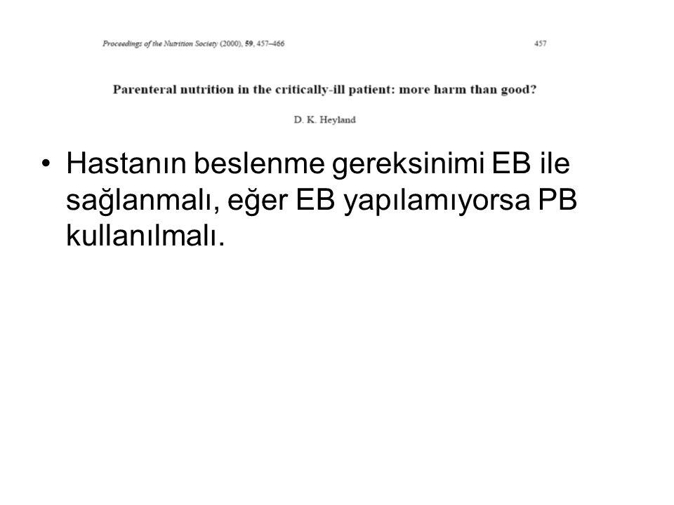 Hastanın beslenme gereksinimi EB ile sağlanmalı, eğer EB yapılamıyorsa PB kullanılmalı.