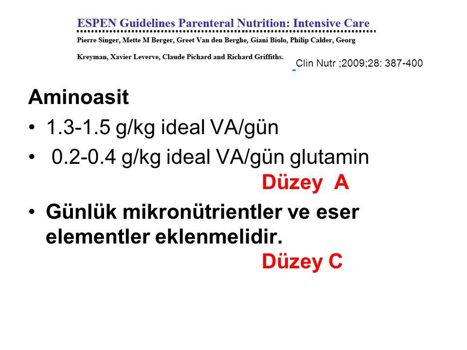 0.2-0.4 g/kg ideal VA/gün glutamin Düzey A