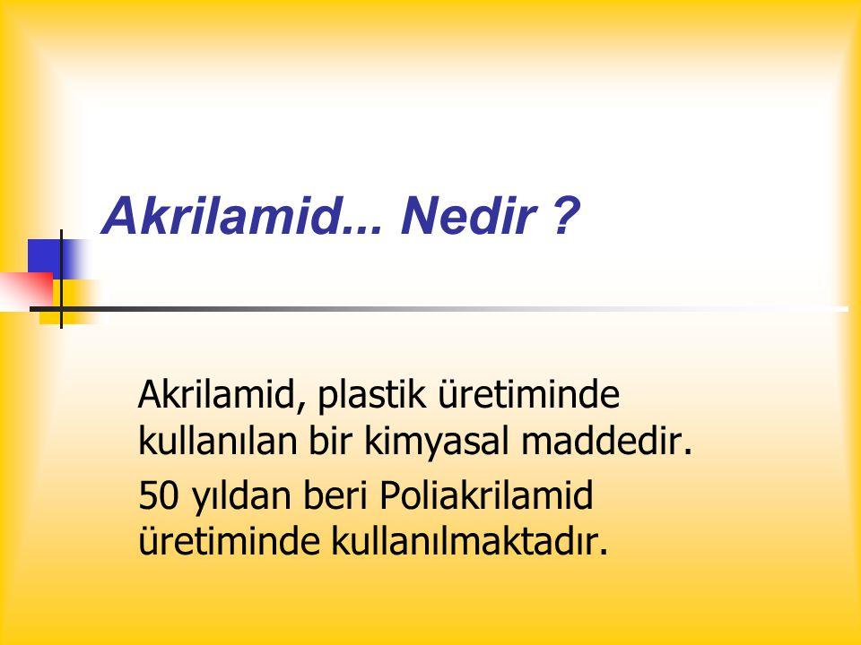Akrilamid... Nedir . Akrilamid, plastik üretiminde kullanılan bir kimyasal maddedir.