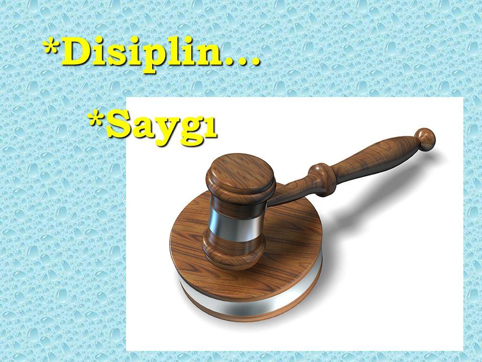 *Disiplin… *Saygı