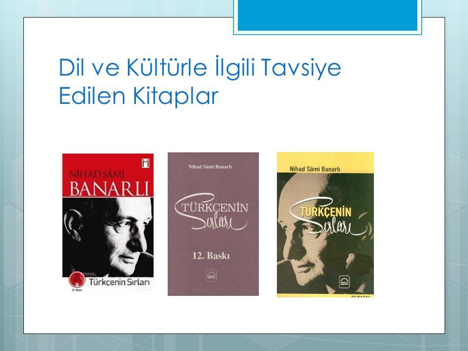 Dil ve Kültürle İlgili Tavsiye Edilen Kitaplar