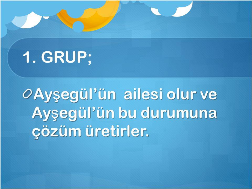 1. GRUP; Ayşegül'ün ailesi olur ve Ayşegül'ün bu durumuna çözüm üretirler.