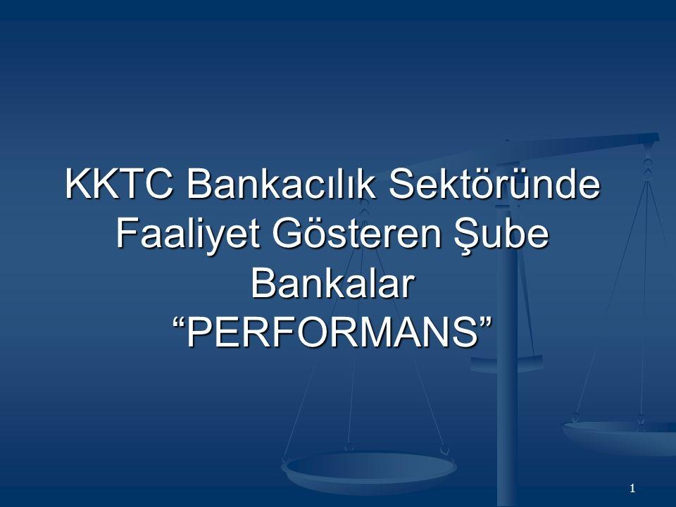 KKTC Bankacılık Sektöründe Faaliyet Gösteren Şube Bankalar PERFORMANS