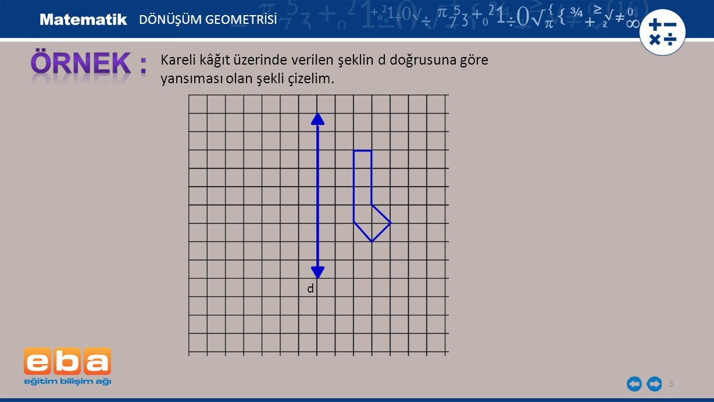 DÖNÜŞÜM GEOMETRİSİ ÖRNEK : Kareli kâğıt üzerinde verilen şeklin d doğrusuna göre yansıması olan şekli çizelim.