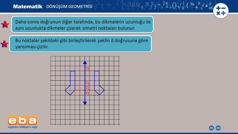 DÖNÜŞÜM GEOMETRİSİ Daha sonra doğrunun diğer tarafında, bu dikmelerin uzunluğu ile aynı uzunlukta dikmeler çizerek simetri noktaları bulunur.