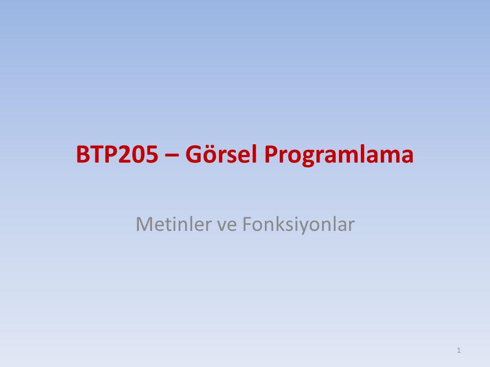 BTP205 – Görsel Programlama