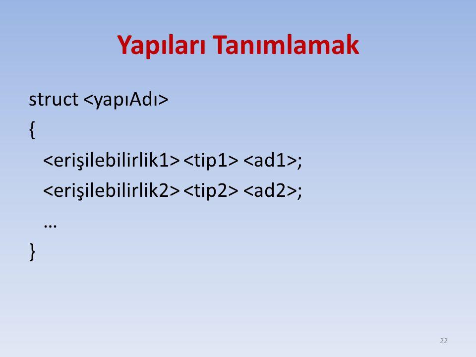 Yapıları Tanımlamak struct <yapıAdı> { <erişilebilirlik1> <tip1> <ad1>; <erişilebilirlik2> <tip2> <ad2>; … }
