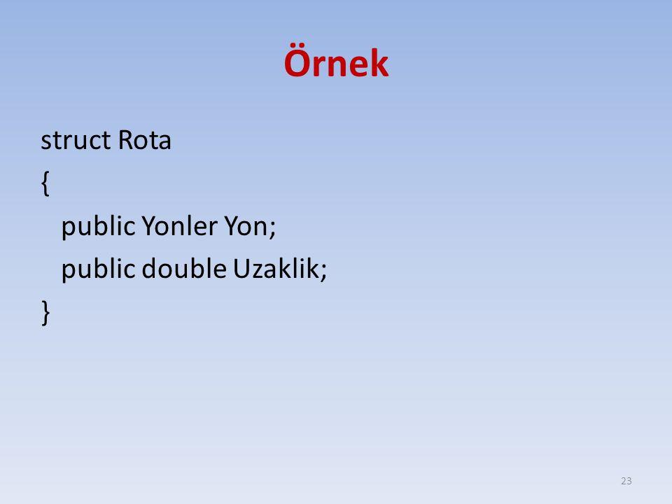 Örnek struct Rota { public Yonler Yon; public double Uzaklik; }