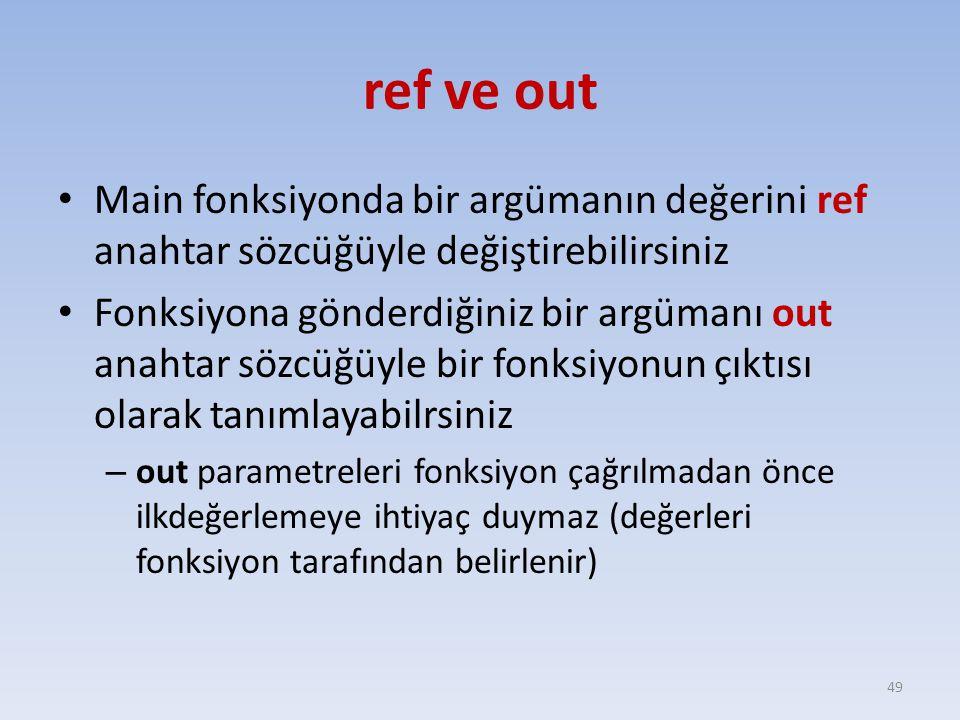 ref ve out Main fonksiyonda bir argümanın değerini ref anahtar sözcüğüyle değiştirebilirsiniz.