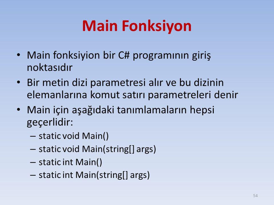 Main Fonksiyon Main fonksiyion bir C# programının giriş noktasıdır