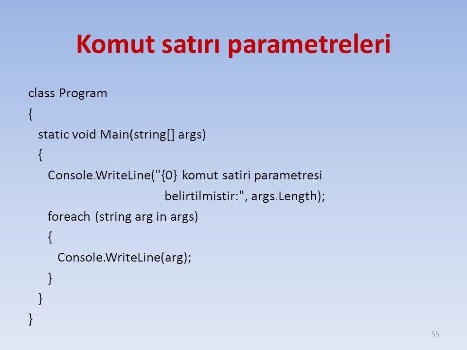 Komut satırı parametreleri