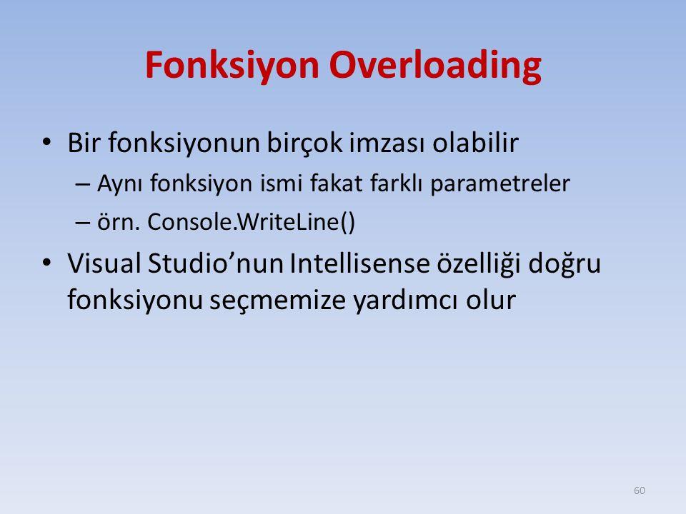 Fonksiyon Overloading