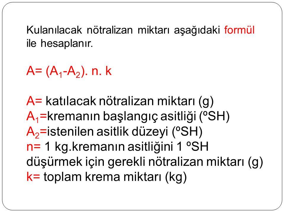 A= katılacak nötralizan miktarı (g)
