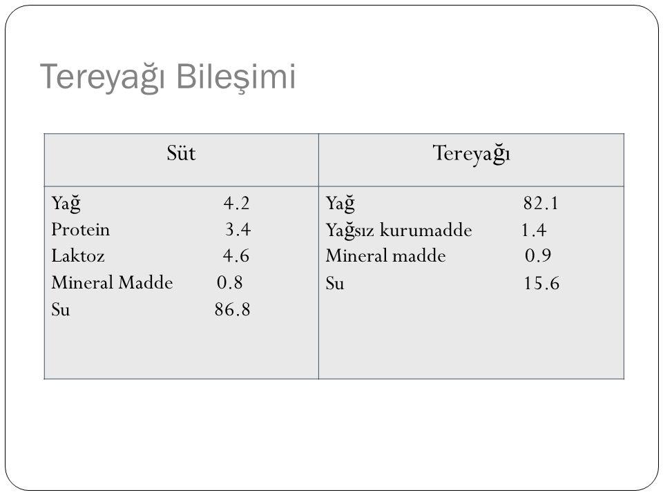 Tereyağı Bileşimi Süt Tereyağı Yağ 4.2 Protein 3.4 Laktoz 4.6