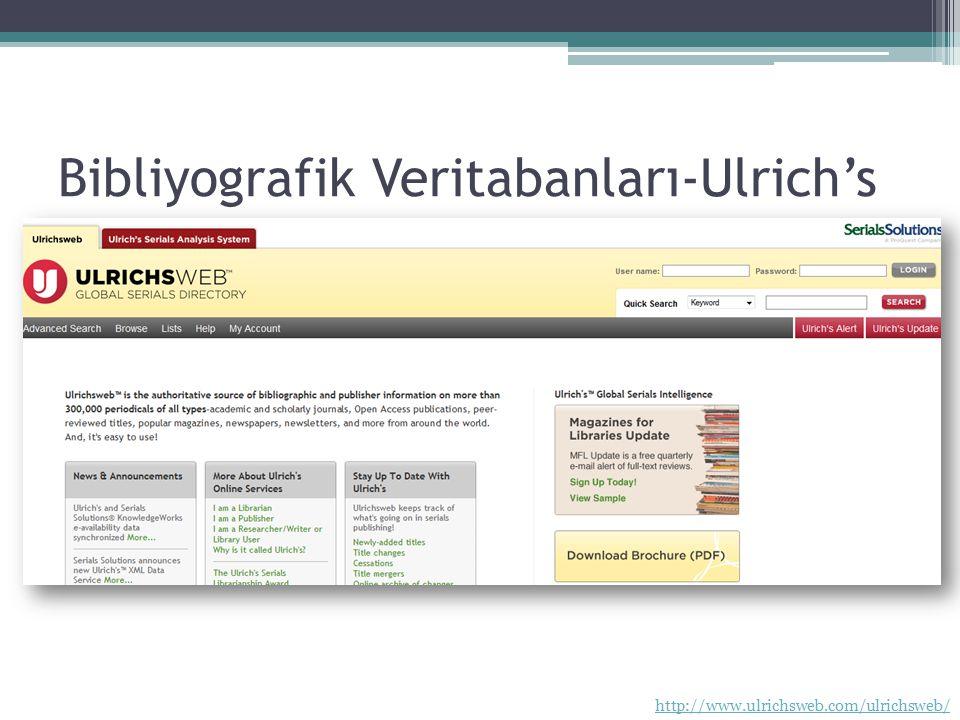 Bibliyografik Veritabanları-Ulrich's