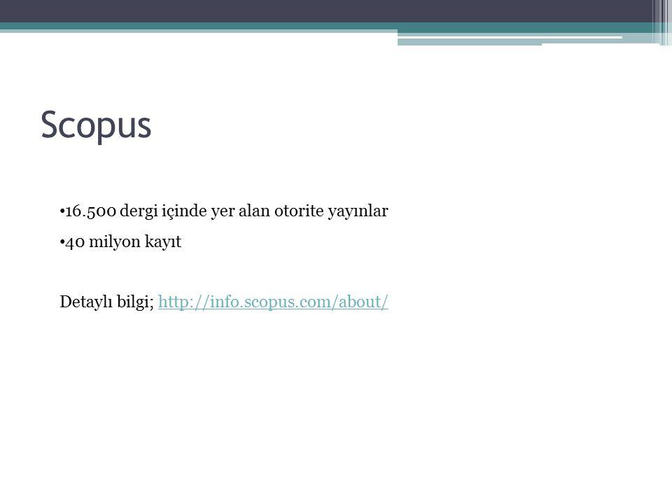 Scopus 16.500 dergi içinde yer alan otorite yayınlar 40 milyon kayıt