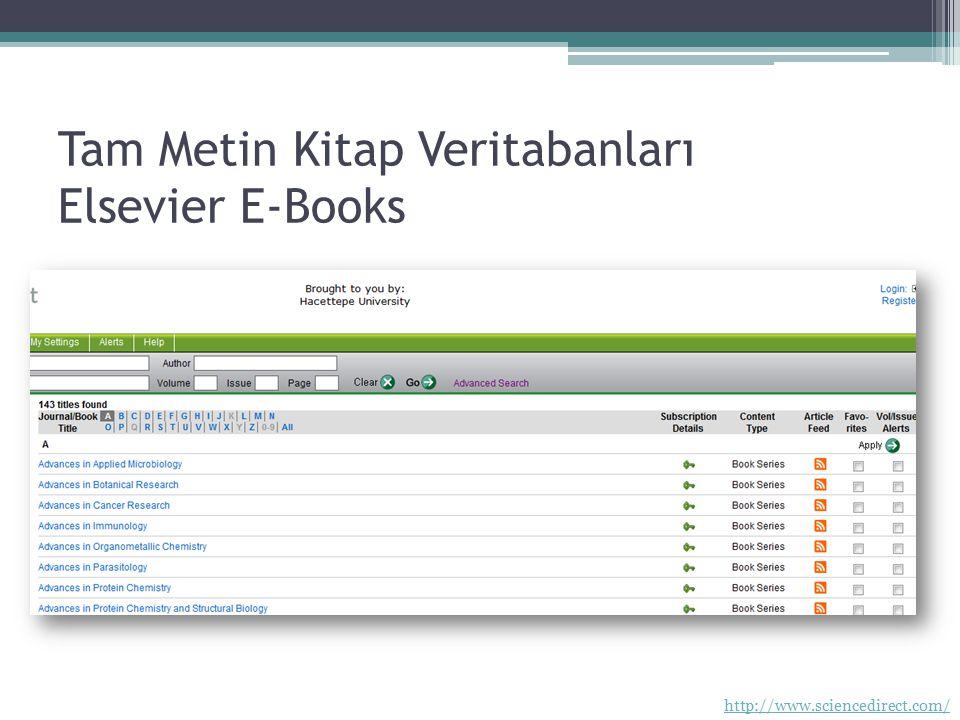 Tam Metin Kitap Veritabanları Elsevier E-Books