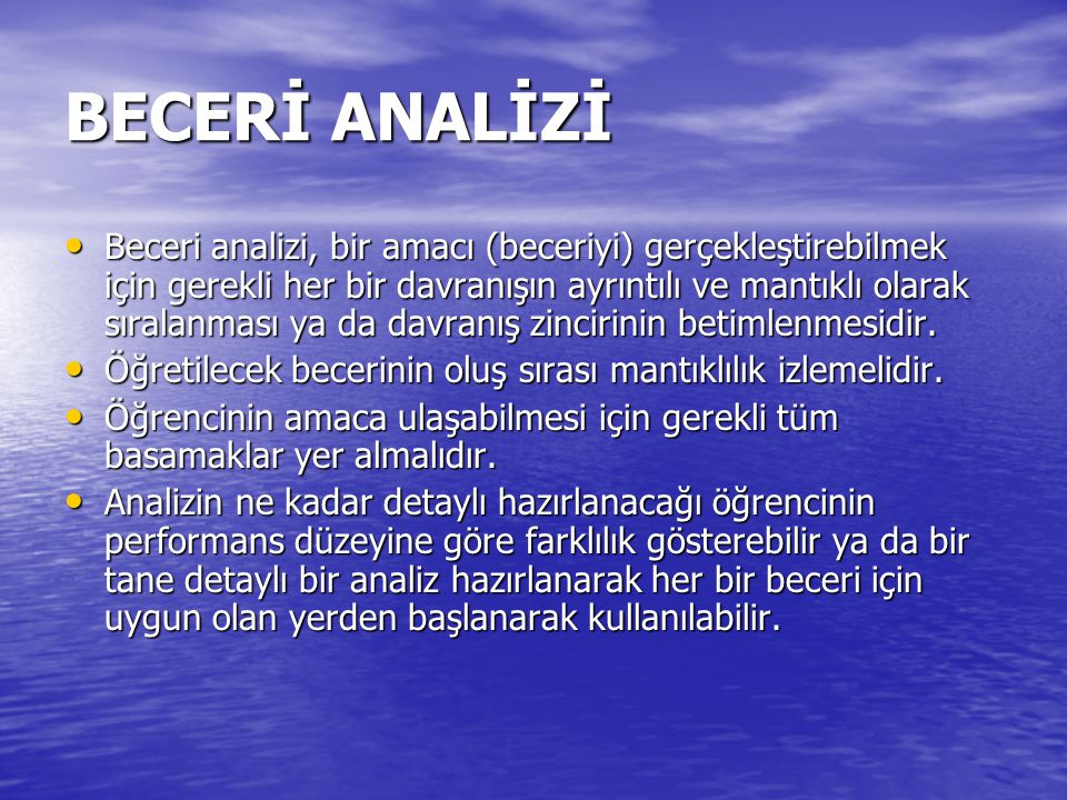 BECERİ ANALİZİ