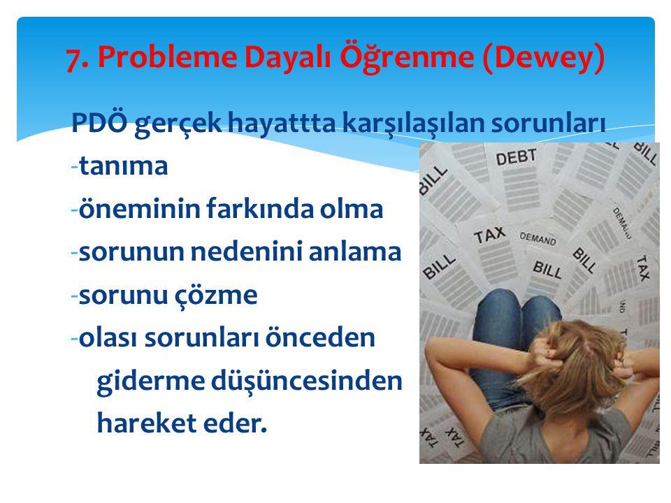 7. Probleme Dayalı Öğrenme (Dewey)