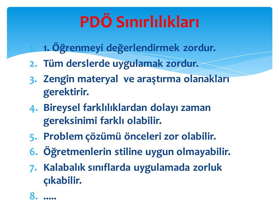 PDÖ Sınırlılıkları 1. Öğrenmeyi değerlendirmek zordur.