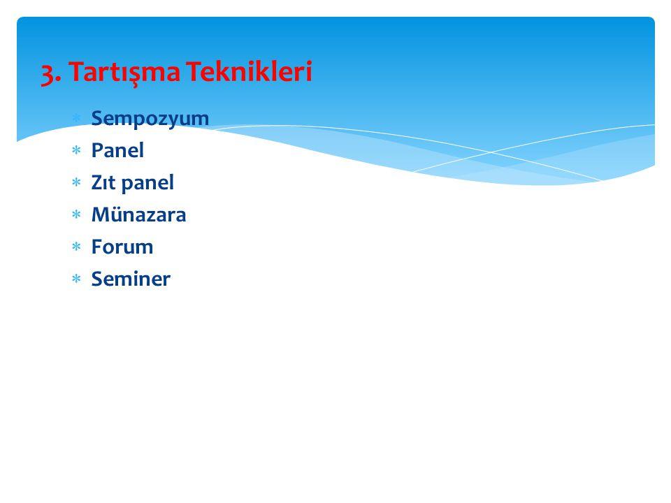 3. Tartışma Teknikleri Sempozyum Panel Zıt panel Münazara Forum