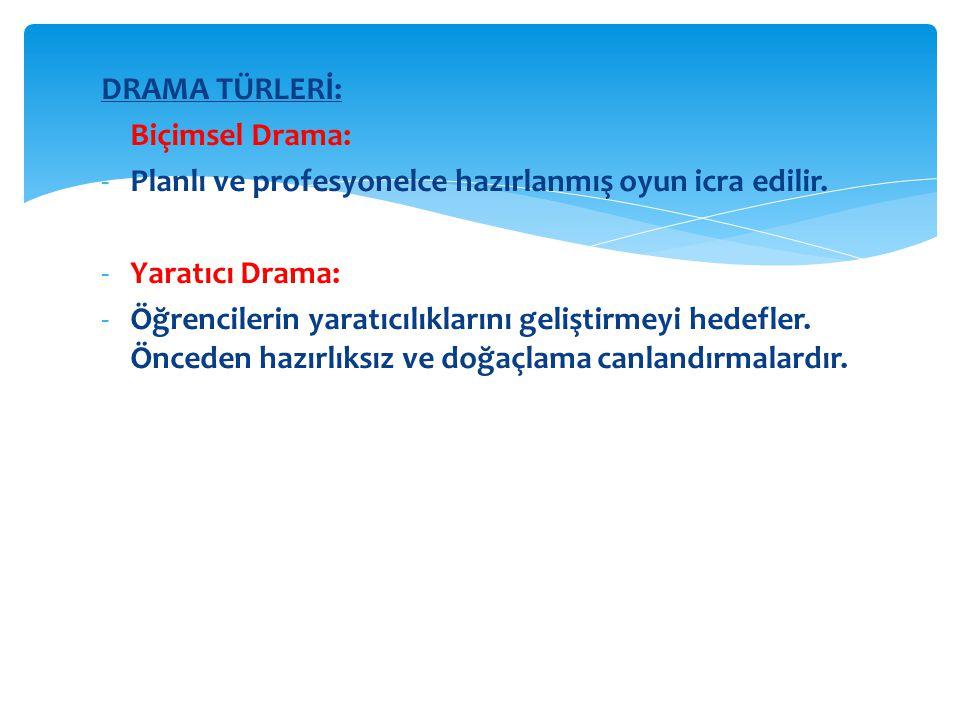 DRAMA TÜRLERİ: Biçimsel Drama: Planlı ve profesyonelce hazırlanmış oyun icra edilir. Yaratıcı Drama: