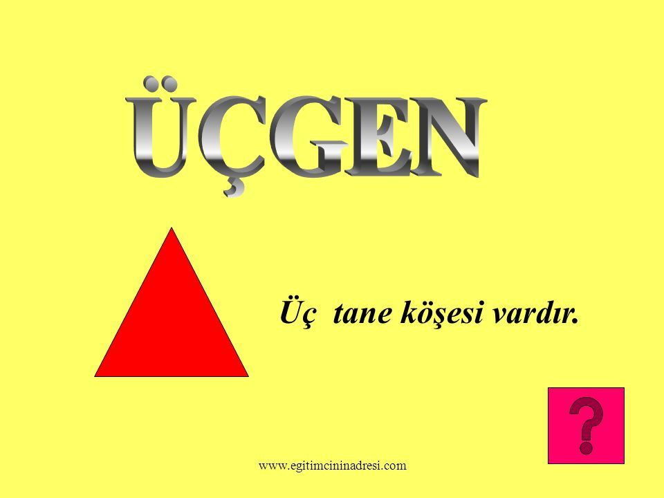 ÜÇGEN Üç tane köşesi vardır. www.egitimcininadresi.com