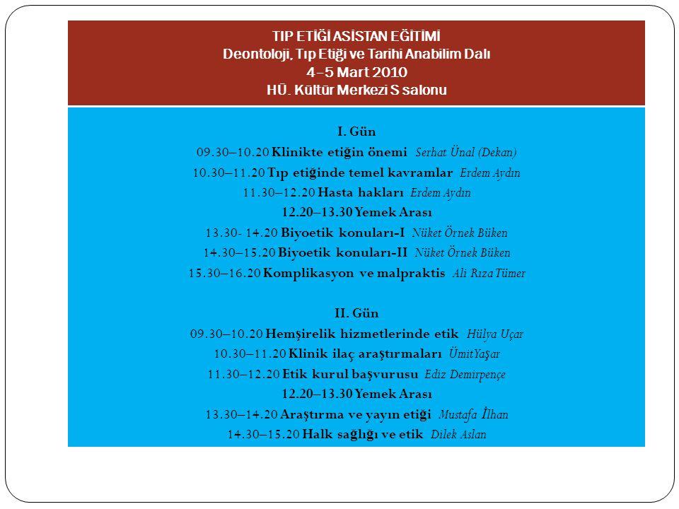 09.30–10.20 Klinikte etiğin önemi Serhat Ünal (Dekan)