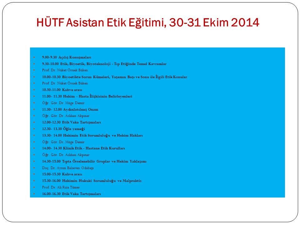 HÜTF Asistan Etik Eğitimi, 30-31 Ekim 2014