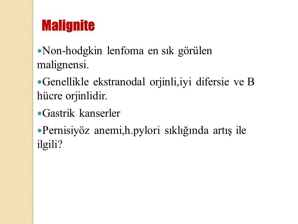 Malignite Non-hodgkin lenfoma en sık görülen malignensi.