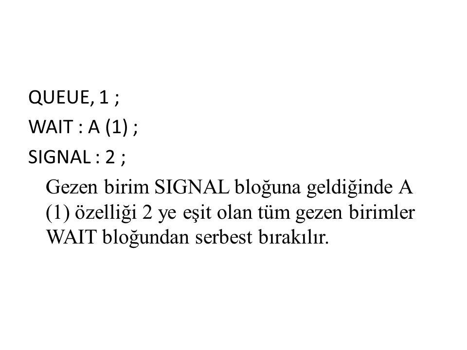 QUEUE, 1 ; WAIT : A (1) ; SIGNAL : 2 ; Gezen birim SIGNAL bloğuna geldiğinde A (1) özelliği 2 ye eşit olan tüm gezen birimler WAIT bloğundan serbest bırakılır.