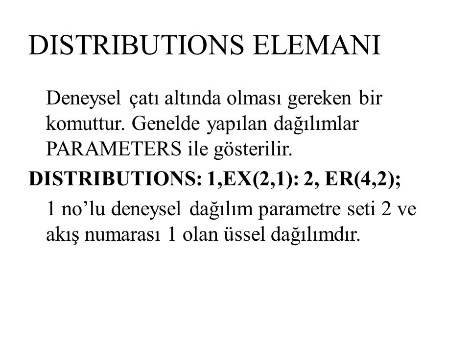 DISTRIBUTIONS ELEMANI