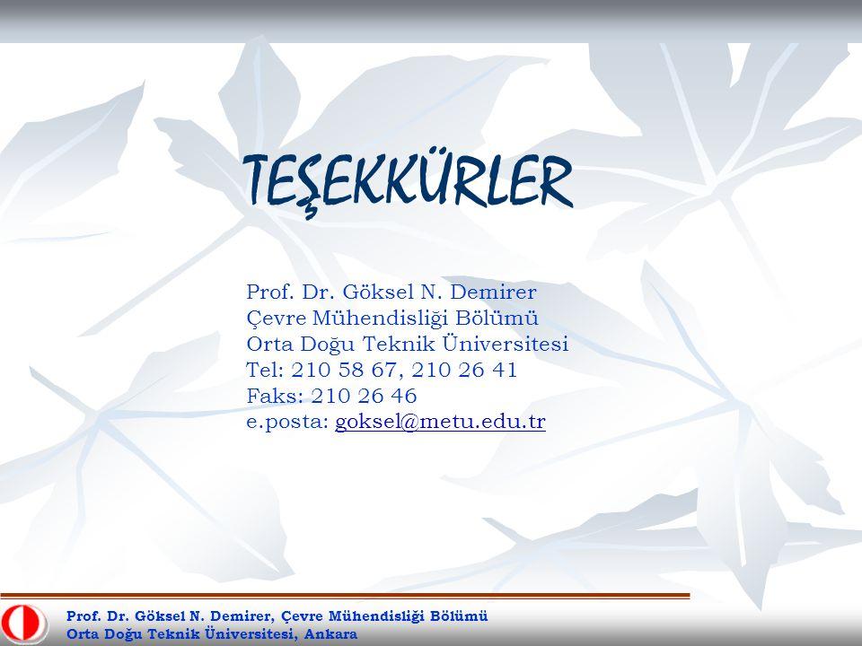TEŞEKKÜRLER Prof. Dr. Göksel N. Demirer Çevre Mühendisliği Bölümü