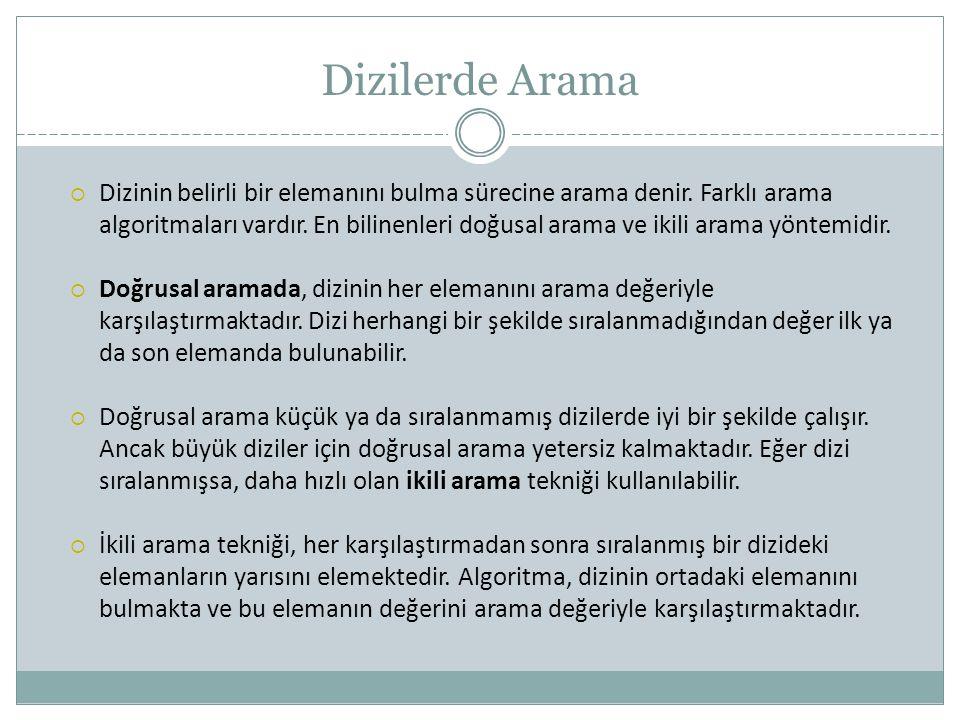 Dizilerde Arama